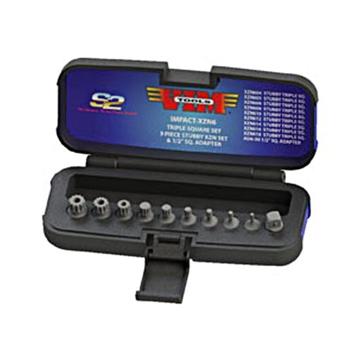 """VIM Tools 10-Pc 3/8"""" Sq. Drive XZN Triple Square Impact Driver Set - IMPACT-XZN6"""