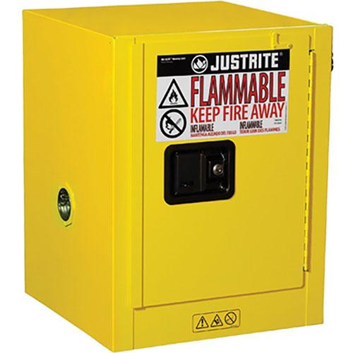 Justrite 4 Gallon Countertop Safety Cabinet 1 Door Manual Lever Handle - 890400