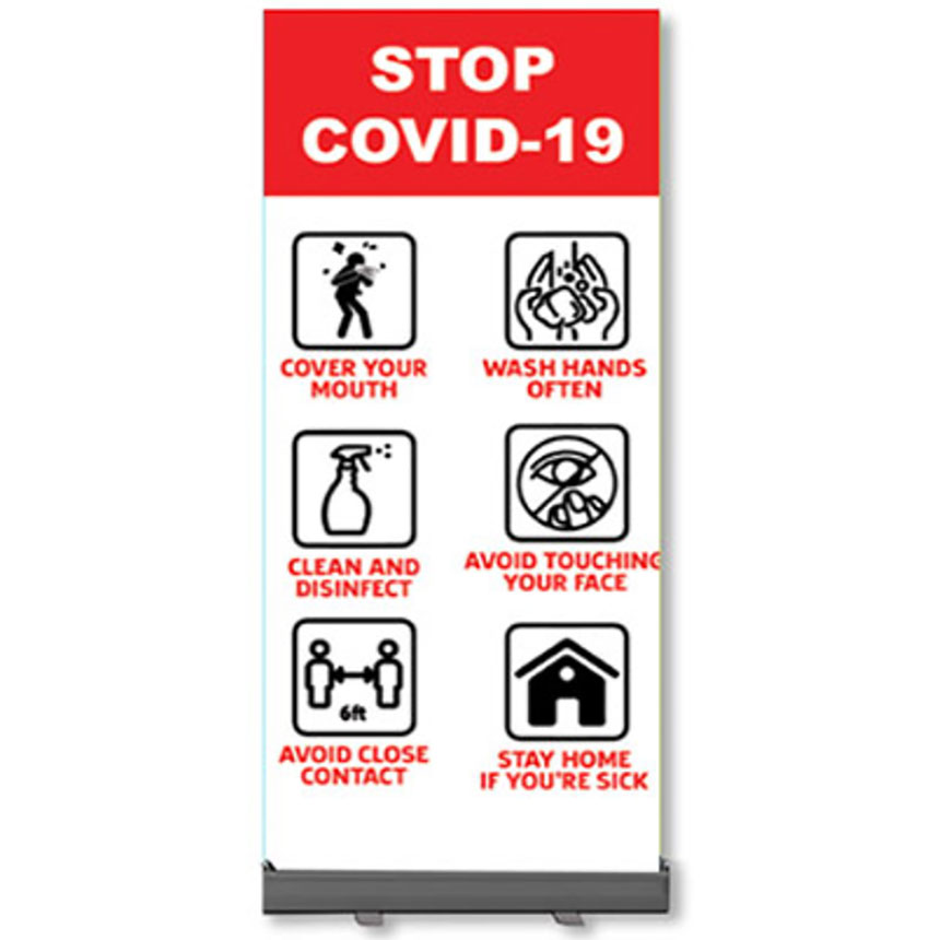 Retractable Banner Stands - Stop COVID -19