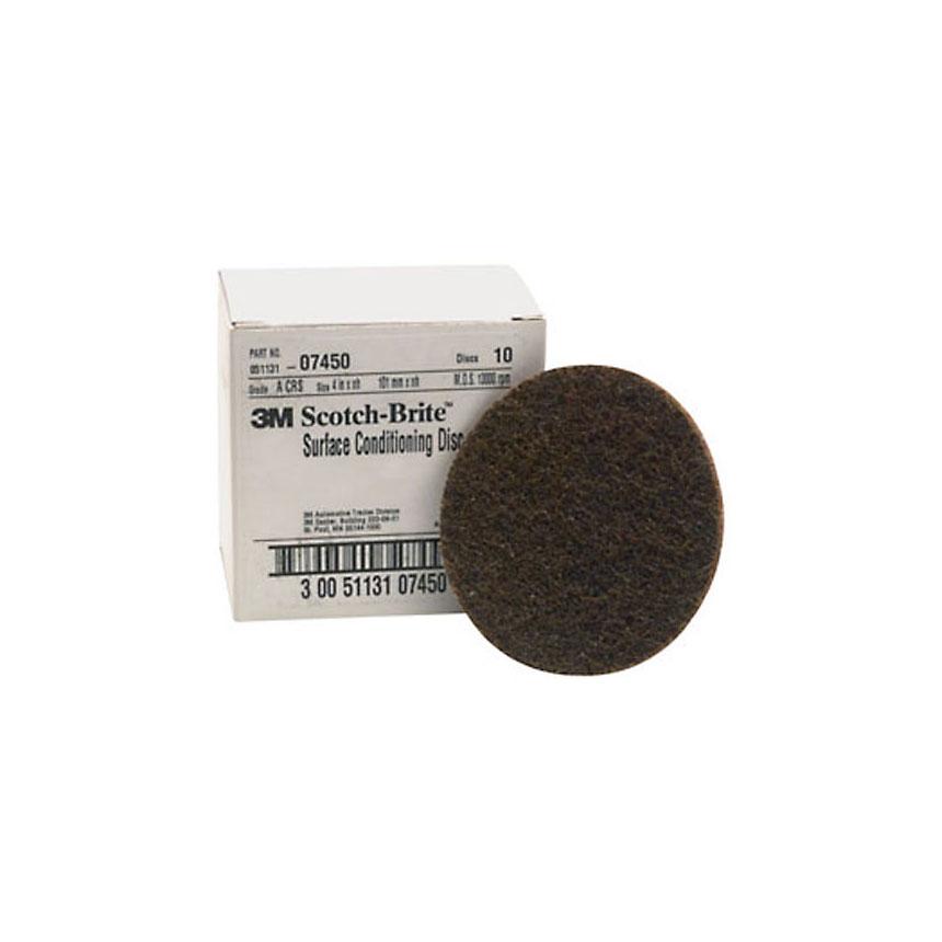 "3M Scotch-Brite Surface Conditioning Disc Brown, 4"", Coarse, 10 discs/bx - 07450"