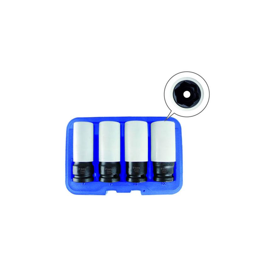 Astro Pneumatic Flank Bite Damaged Lug Nut Socket Set with Spinning Protective Sleeves - 7404