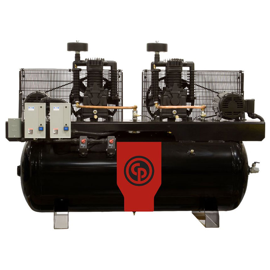 Chicago Pneumatic 15HP 120gal Two-Stage Duplex Air Compressor 208-230/1 - RCP-15121D