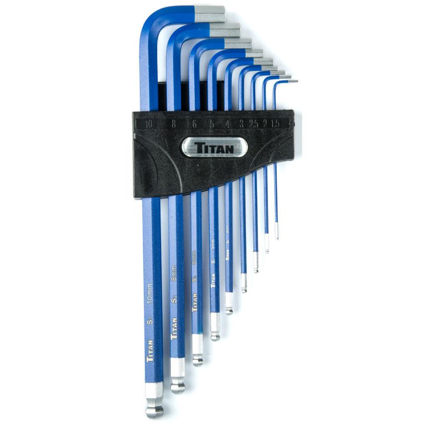 Titan Tools 9pc Extra-Long Arm Metric Hex Key Set - 12714