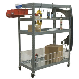 Champ Deluxe 2-Shelf Parts Station with Wood Shelf