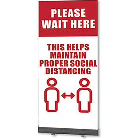 Retractable Banner Stands - Please Wait Here