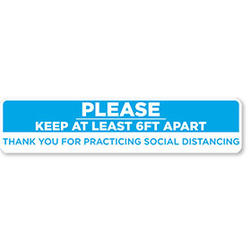 "Please Keep Your Distance 24.5"" x 5"" Blue/White Floor Sign"
