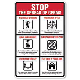 Stop the Spread of Germs  - Sign Vertical 12x18 in