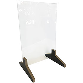 "Countertop Acrylic Shield with Wood Base - 23"" H x 15"" W x 12"" D"