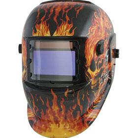 Titan Tools Wide-View Flaming Skull Solar Powered Welding Helmet
