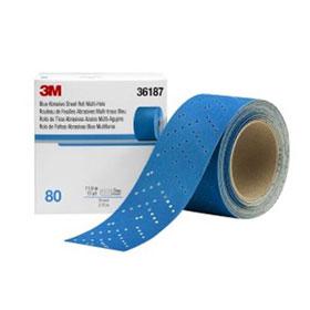 """3M Hookit 2-3/4"""" x 13yd Blue Abrasive Multi-Hole Sheet Rolls"""