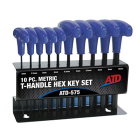ATD Tools 10 Pc. Metric T-Handle Hex Key Set - 575
