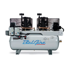 BelAire Iron Series 2x7.5HP 120-Gallon Single Phase Electric Duplex Horizontal Compressor - 4112DL
