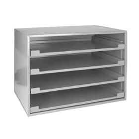 Sliding Cabinet, Holds 4 Large Trays, Gray Finish - 80320