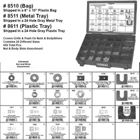 Universal Nut & Body Shim Assortment in Metal Tray