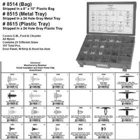 Disco Automotive Universal Door Panel & Hood Clip Assortment in Metal Tray