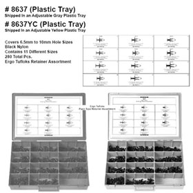 Disco Automotive Black Nylon Ergo Tuflok Push-Type Retainer Assortment in Yellow Tray