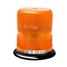 "Ecco Strobe Beacon Light, Amber, Medium Profile, 3-Bolt/1"" Pipe Mount, 12-24 VDC - 6670A"