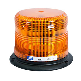 "Ecco Strobe Beacon Light, 3-Bolt/1"" Pipe Mount, Amber Dome, 12-48 VDC - 6500 Series"
