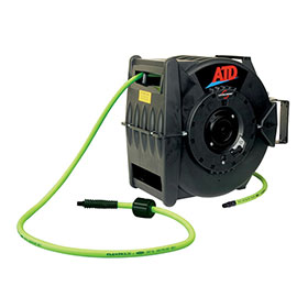 ATD Tools Levelwind Retractable Air Hose Reel with 3/8 in x 60 ft Premium Flexzilla Hose