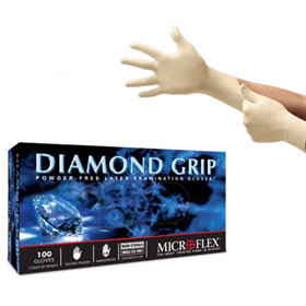 Microflex Diamond Grip Powder-Free Latex Exam Gloves - MF300