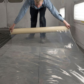 "RBL Products 48"" x 200ft Spray Booth Floor Film, Clear - 421"