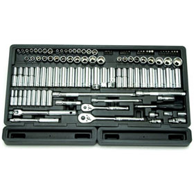 "106 Pc. 1/4"" & 3/8"" Dr. 6-Point Master SAE & Metric Chrome Socket Set - 1380"