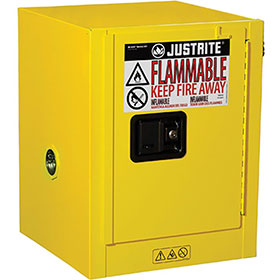 Justrite 4 Gallon Countertop Safety Cabinet 1 Door Manual Lever Handle - 890400