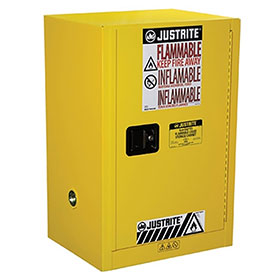 Justrite 12 Gallon Compact Safety Cabinet 1 Door Manual Lever Handle