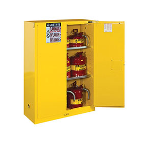 Justrite 30 Gallon Sure-Grip Ex Safety Cabinet - Sliding Self-Close - Yellow - 893080