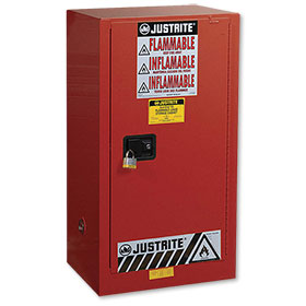 Justrite 20 Gallon Sure-Grip Ex Safety Cabinet For Combustibles - Self-Close - Red - 891531
