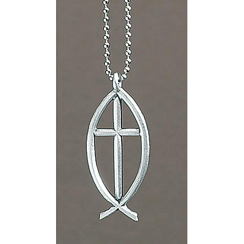 Ichthus with Cross Rearview Mirror Ornament