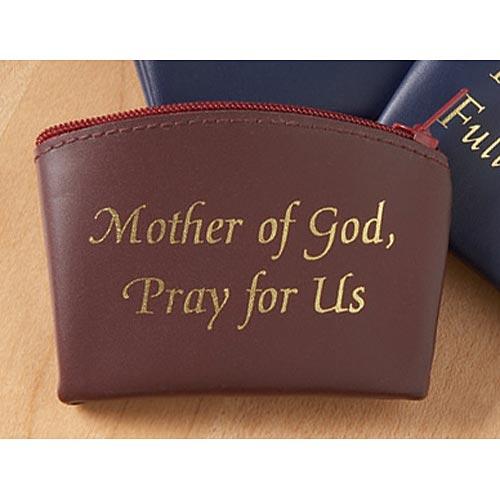 Mother of God Rosary Case Burgandy Vinyl