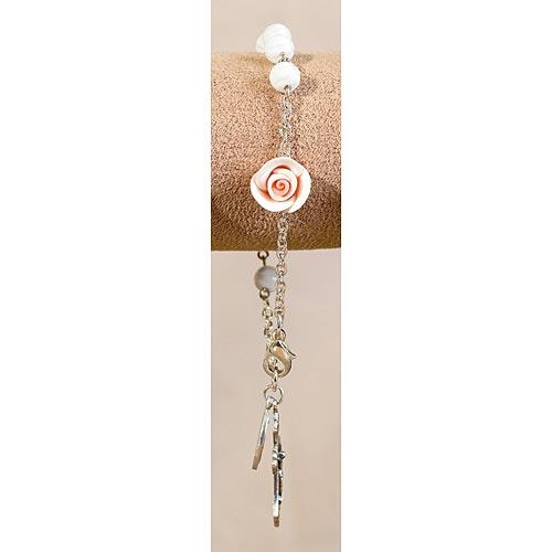 White Flower Rosary Bracelet
