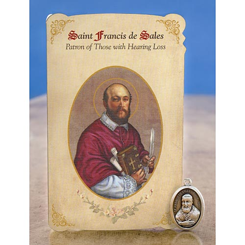 St. Francis de Sales (Hearing) Holy Card w/ Medal