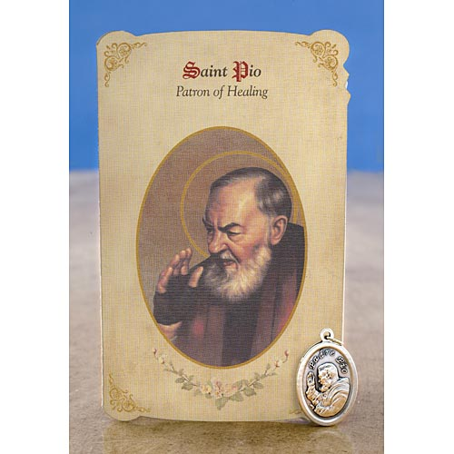 Saint Pio Holy Card with Medal For General Healing