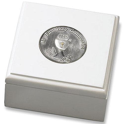 First Communion Keepsake Rosary Box - White