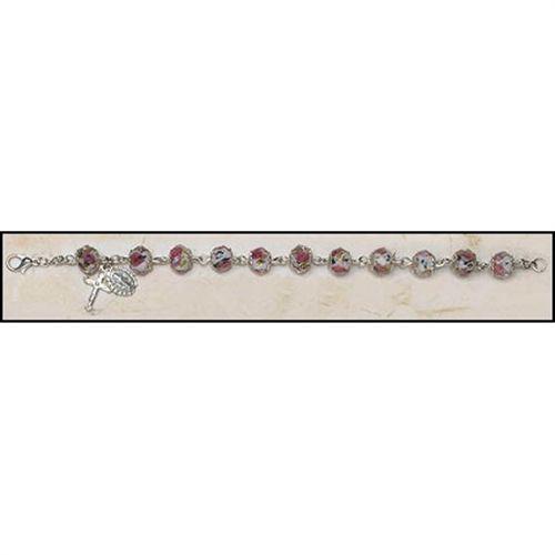 Glass Hand Painted Rosary Bracelet - White