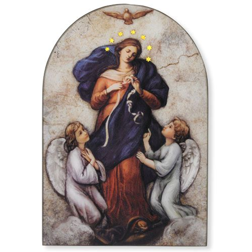 Mary, Untier of Knots Arched Plaque