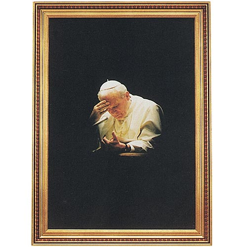Pope John Paul II in Prayer Framed Print