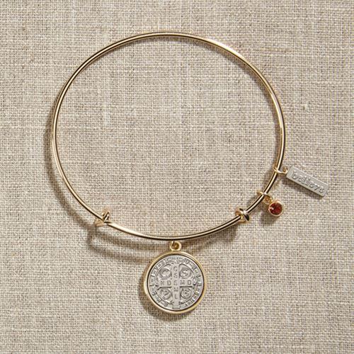 Vintage Blessings St. Benedict Silver Bangle Bracelet