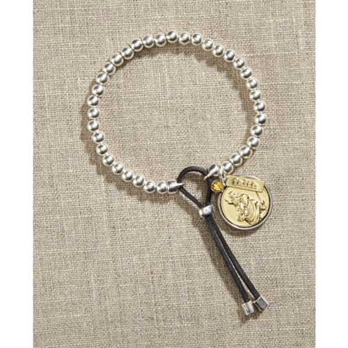 Saint Christopher Silver Bead Bracelet