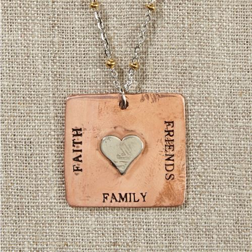 Grateful Heart-Copper Square Necklace with Heart on Silver and Gold Chain