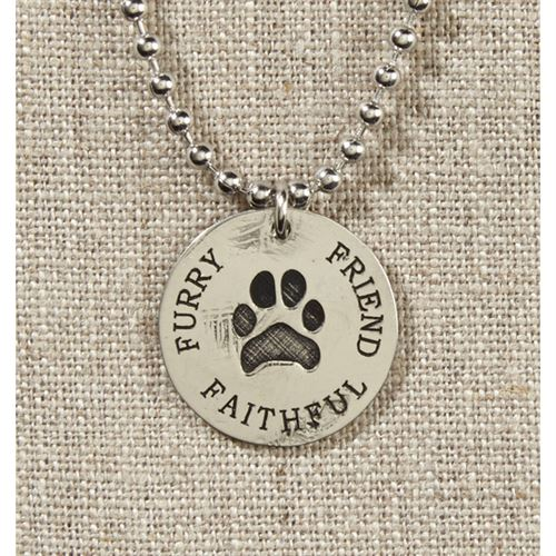 Grateful Heart- Silver with Paw Print Necklace on Silver Chain