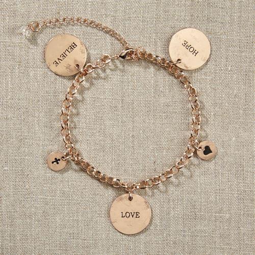 Grateful Heart- Gold Charm Bracelet