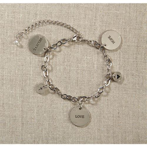 Grateful Heart- Silver Charm Bracelet