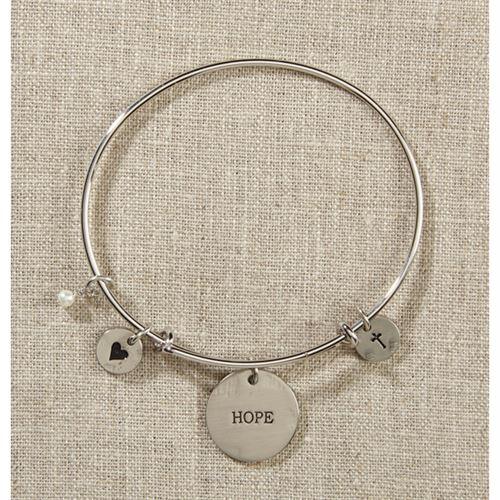 Silver Hope Bangle Bracelet