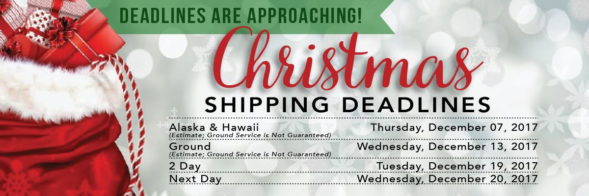 Christmas Shipping Deadlines are approaching- Shop Now!