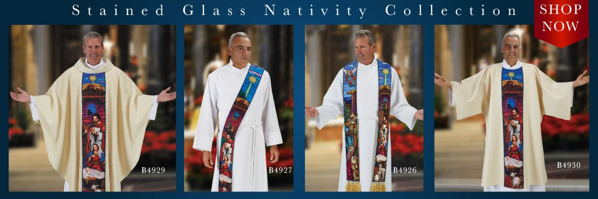 Shop our New Stained Glass Nativity Clergy Apparel.
