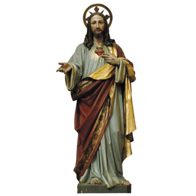 Sacred Heart Statue - Wood