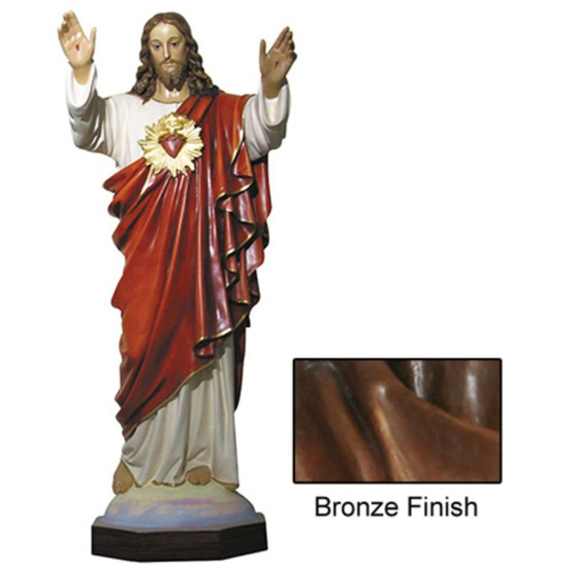 "64"" Sacred Heart Statue - Bronze"